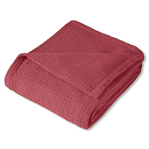 Sweet Home Collection 100% Fine Cotton Blanket Luxurious Basket Weave Stylish Design Soft and Comfortable All Season Warmth, King, Burgundy Red