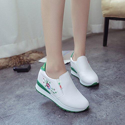Femmes Bottes, Hatop Femmes Chaussures Décontractées Doux Respirant Broderie Fond Épais Pieds Chaussures Vert