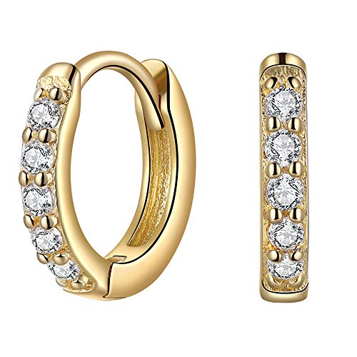 14k Gold Plated Sterling Silver Cubic Zirconia Huggie Hoop Earrings for Women Small Hoop Earrings for Cartilage Inner 6mm 7mm 8mm