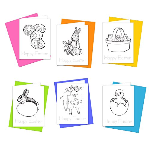 Happy Easter - Easter Wishes Greeting Cards for Kids to Color, Trace Letters and Practice Writing - Eco-friendly Stationery for Children - 100% Recycled Paper Note Cards with Envelopes (Blank Inside)