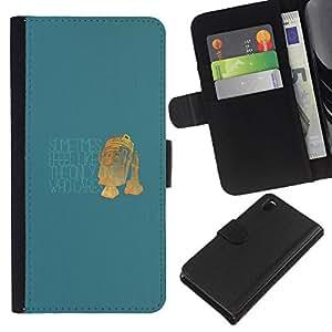 LECELL--Cuero de la tarjeta la carpeta del tirón Smartphone Slots Protección Holder For Sony Xperia Z3 D6603 -- Único que se preocupa - Funny R2 D2 --