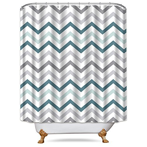 (Cdcurtain Chevron Aqua Grey Shower Curtain Panel 72x84 inch Free Metal Hooks 12-Pack White Northern Europe Style Fashion Decor Fabric Bathroom Set Polyester Waterproof Search Term)