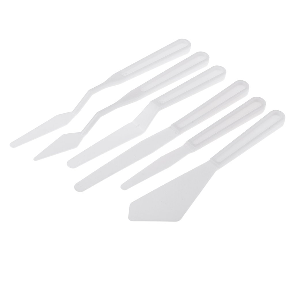 Homyl 6 Piece Palette Cutter Artist Acrylic Oil Painting Palette Spatula Tool Mixing Tool for Art Crafts