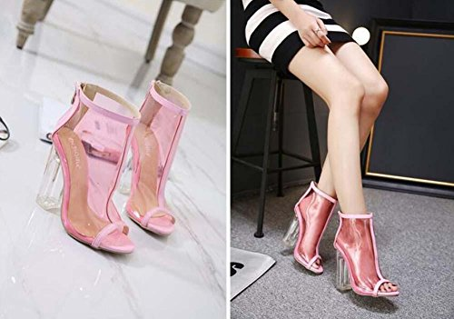 Crystal Women Heel Heeled High Fashion 35 Eu Boots 40 12cm Sandals Sandals Glass Peep Heels Size Toe Zipper Transparent Cool Transparent Pink Pink Jelly Chunkly Boots wZAUaAqY