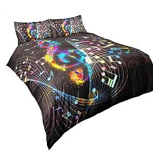 Suncloris, Colorful Music Note Duvet Cover Set, Treble Clef Colorful Home Textiles Kids Bedding Set. Included: 1 Duvet…