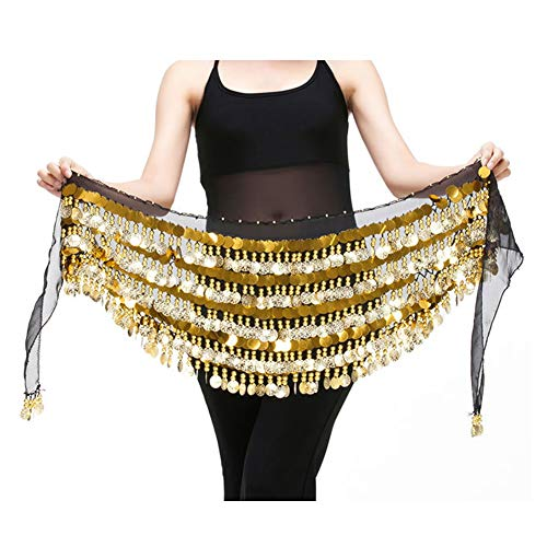 Saymequeen Chiffon Belly Dance Costume Waist Chain Hip Scarf Wrap Belt (black)