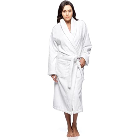 Plain White 100 Cotton Terry Towelling Bathrobe Free Size Amazon