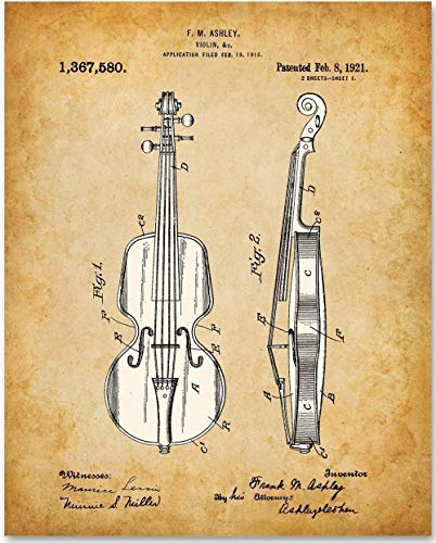 Violin - 11x14 Unframed Patent Print - Great Gift Under $15 for ()