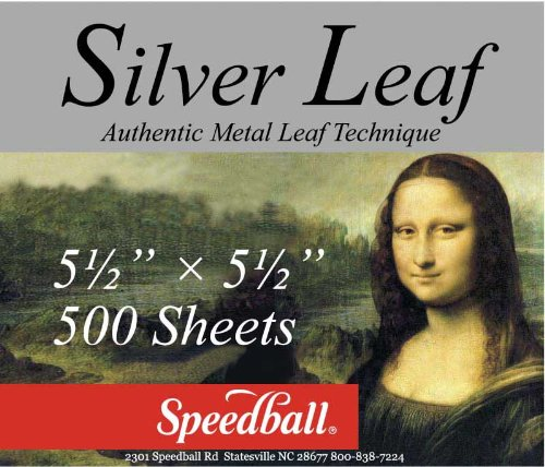 Speedball Mona Lisa Composition Silver Leaf, 500 Sheet Pack by Speedball