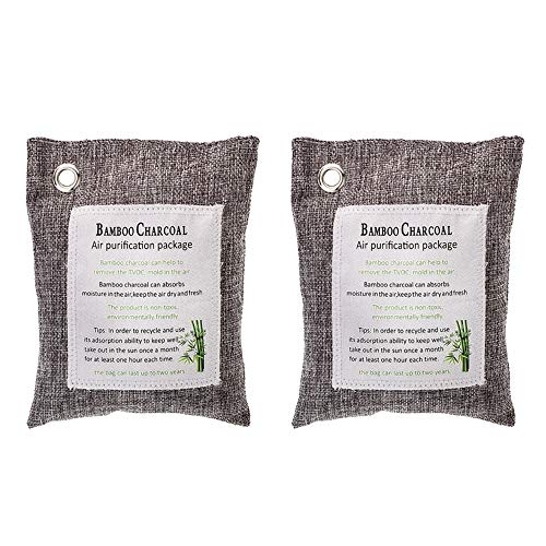 Hlinsa Activated Bamboo Charcoal air Purifying Bag(2 Pack), Car Charcoal air Purifying Bag,Charcoal Bag Absorbs Odors and Odor Neutralizer, Deodorizer for Home,Toilet Freshener、Closets,200g (Best Homemade Room Deodorizer)