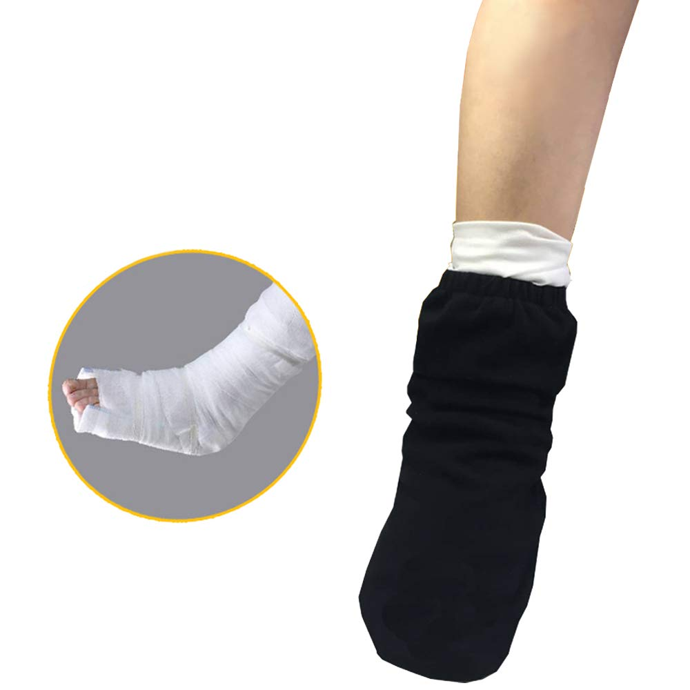 Gypsum Socks, Gypsum Foot Covers, Adult Plus Fertilizer Plus Thick Loose, Cotton Breathable, Suitable For Leg Swelling And Plastering, Toe Patients Need To Keep Warm (1PC),Black