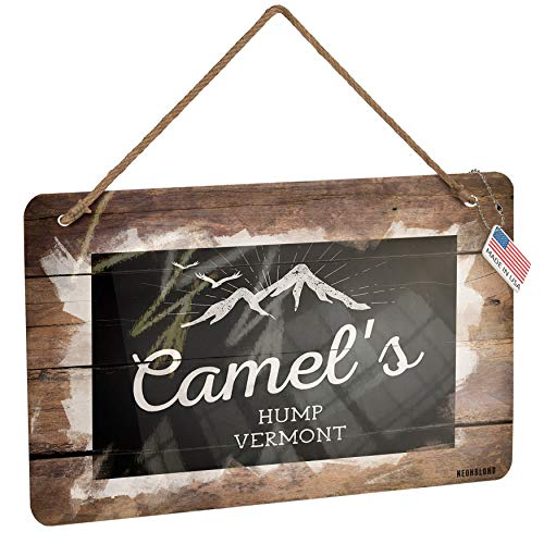 (NEONBLOND Metal Sign Mountains Chalkboard Camel's Hump - Vermont Christmas Wood Print)