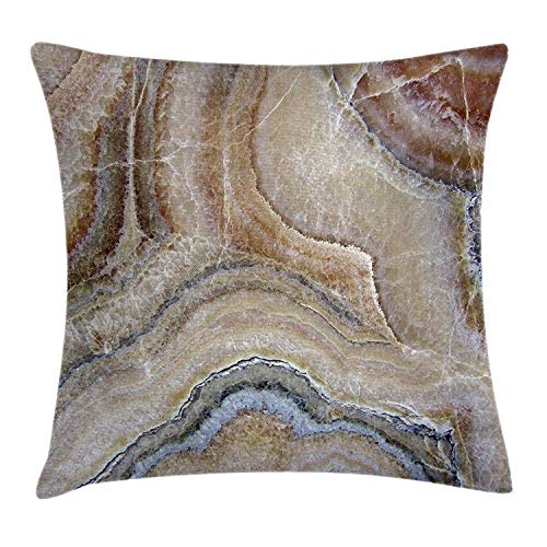Riolaops Marble Throw Pillow Cushion Cover, Surreal Onyx Stone Surface Pattern with Nature Details Artistic Picture, Decorative Square Accent Pillow Case, 18 X 18 Inches, Cinnamon Grey Tan Beige