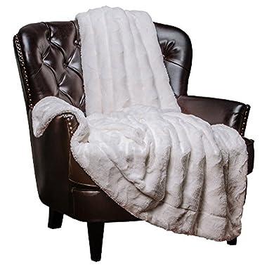 Chanasya Super Soft Warm Elegent Cozy Sherpa Wavey Pattern Ivory Crme White Throw Blanket - Ivory Waivey Pattern