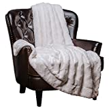 """Chanasya Fur Throw Blanket for Bed Couch Chair Daybed - Soft Wave Embossed Pattern - Warm Elegant Cozy Fuzzy Fluffy Faux Fur Plush Suitable for Fall Winter Summer Spring (50"""" x 65"""") - White Blanket"""