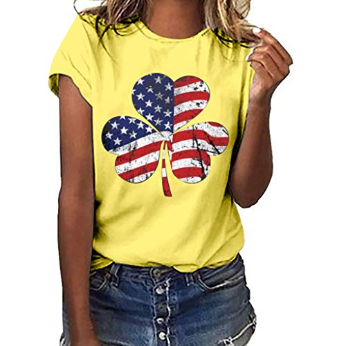 Products Ringer Kids T-shirt - TUSANG Women Tees Girls Plus Size Independence Day Print Short Sleeve T-Shirt Blouse Tops Slim Fit Comfy Tunic(B-Yellow,US-12/CN-2XL)