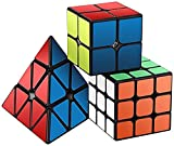 #3: Speed Cube Set, Roxenda Magic Cube Set of 2x2x2 3x3x3 Pyramid Smooth Puzzle Cube