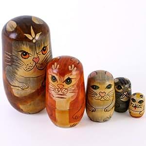 Cat Wooden Russian Nesting Dolls Set