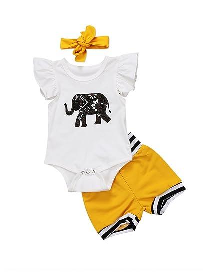 813c659b4 Urkutoba 3Pcs Infant Baby Boy Girl Short Sleeve Elephant Bodysuit+Short  Pants+Headband Outfit