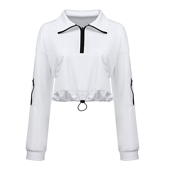 412ffd241a Sufeng Women Solid Zipper Drawstring Pocket Long Sleeve Sweater Top Blouse:  Amazon.in: Clothing & Accessories