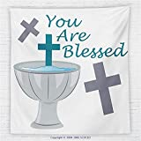 59 x 59 Inches Baptism Decorations Fleece Throw Blanket First Holy Communion Theme with Crosses Greeting Child Welcoming Illustration Blanket
