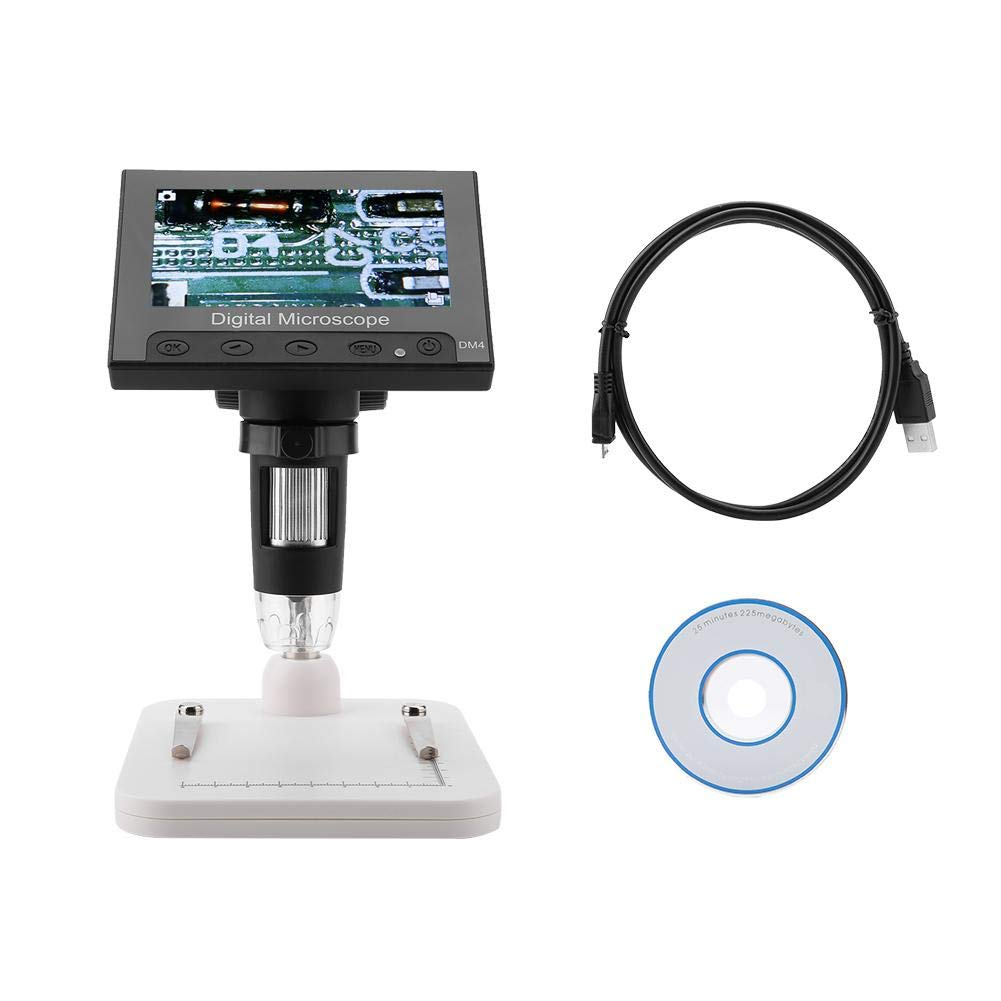Akozon USB Microscope 4.3inch 2MP Display Photos & Videos 8LEDs with Holder(Plastic Holder) by Akozon