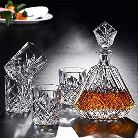 Juego de vasos de whisky de 650 ml y 4 vasos de whisky de 320 ml para hombres y whisky Set para el hogar (color: transparente, tamaño: juego de 5 piezas)