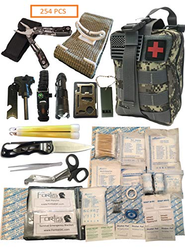 Fortis EDC Survival First Aid Kit Molle Bag Tactical IFAK for Car Travel Camping Hiking RV and Home - with Israeli Bandage 4 inch Trauma Bleed Stop and Full Size Multi-Tool CPR Mask - 254 Piece (Best Survival Medical Kit)