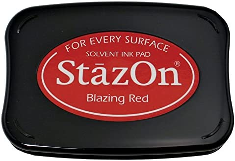 B0013JLEBG Tsukineko Full-Size StazOn Multi-Surface Inkpad, Blazing Red 518UO2EkriL