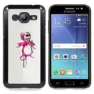 "Qstar Arte & diseño plástico duro Fundas Cover Cubre Hard Case Cover para Samsung Galaxy J2 / J200 (Oso de peluche rosado de la salpicadura"")"
