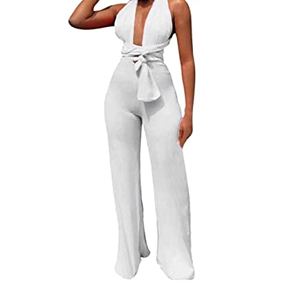 4024bcc804f9 Women's Sexy Sleeveless Deep V-Neck Criss Cross Jumpsuit Rompers Solid  Elegant Belted Wide Leg