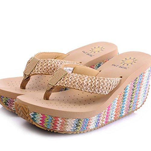 Flip Flops Havaianas Damen High Heels Sommer Beige