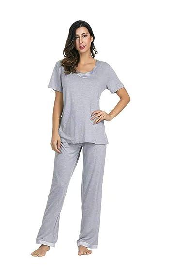 419941290527 Utara Women s Pajama Set Solid Striped Short Sleeve Top   Pants Sleepwear  Pjs Sets