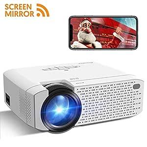 Mini Proyector Portátil Crosstour Soporte Full HD 1080P Vídeo Inalámbrico Wi-Fi Proyector,Cine en Casa Screen Mirror,Compatible con ...