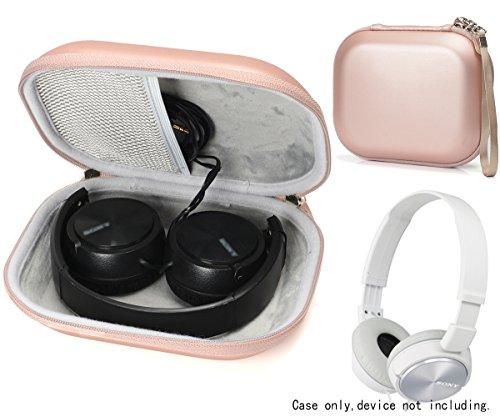 Headphone Case for Sony MDRZX110NC Noise Cancelling, Over Ear Best Stereo, MDRZX110, ZX220, ZX300, ZX310, ZX400, XB200, ZX102DPV; Sennheiser HD219, HD229, HD239, HD218, Accessories Pocket (Rose Gold)