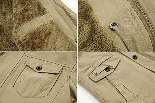 Khaki Homme Coton Capuche Épaisse En Parka Militaire Blouson À Fourrure Style Manteau D'hiver Fr5809 Chaud Doublure Longues Veste Jiinn UqFdfBF