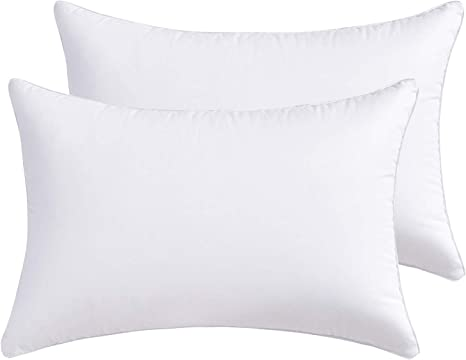 Lipo Throw Pillow Inserts With 100 Cotton Cover Pack Of 2 White Decorative Pillows Inserts Filling With Premium Resilient Microfiber Rectangle Pillow For Cushion Bed Couch Sofa Car 12 X 20
