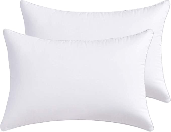 Lipo Throw Pillow Inserts With 100 Cotton Cover Pack Of 2 White Decorative Pillows Inserts Filling With Premium Resilient Microfiber Rectangle Pillow For Cushion Bed Couch Sofa Car 12 X 20 Inch Kitchen Dining