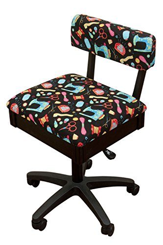 Arrow Height Adjustable Hydraulic Sewing Chair – Black with Black Riley Blake fabric