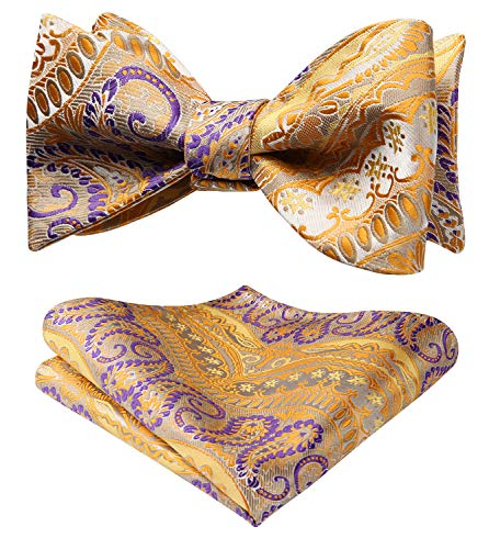 SetSense Men/'s Plaid Jacquard Woven Self Bow Tie Set One Size Pink//Navy Blue