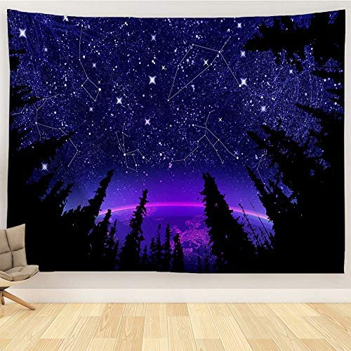 ORTIGIA Forest Starry Tapestries Trippy psychedelic Galaxy constellation Tapestry Bohemian Hippie Wall Hanging Fantasy Tree Space woodlang Wall Art Night Sky blanket Bedspread Table Cloth 90 W x 71 L