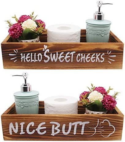 Homanga Nice Butt Bathroom Decor Box With Funny Sayings Wooden Toilet Paper Holder Farmhouse Bathroom Decor Cute Bathroom Sign Rustic Home Decor Box For Bathroom Table Counter Brown