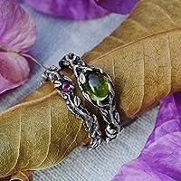 Set of 2 Vita + band Engagement Ring Set MADE TO ORDER Chrysolite ring, Tourmaline ring, Wedding Ring Set, Twig ring, Stacking Rings Set