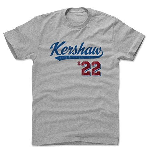 500 LEVEL's Clayton Kershaw Cotton Shirt XX-Large Heather Gray - Los Angeles Baseball Fan Apparel - Clayton Kershaw Script B