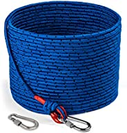 Loreso Strong Magnet Fishing Rope with Double Carabiner, Camping Rope - Heavy Duty 1200 lb Strength All Purpos
