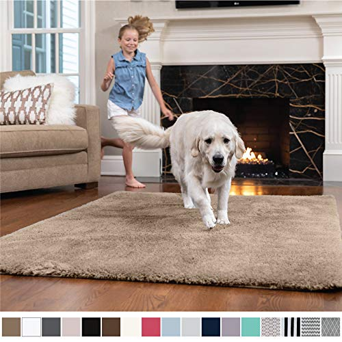 Large Area 6' Rug (GORILLA GRIP Original Faux-Chinchilla Nursery Area Rug, (4' x 6') Super Soft & Cozy High Pile Machine Washable Carpet, Modern Rugs for Floor, Luxury Shaggy Carpets for Floors, Bed/Living Room (Beige))
