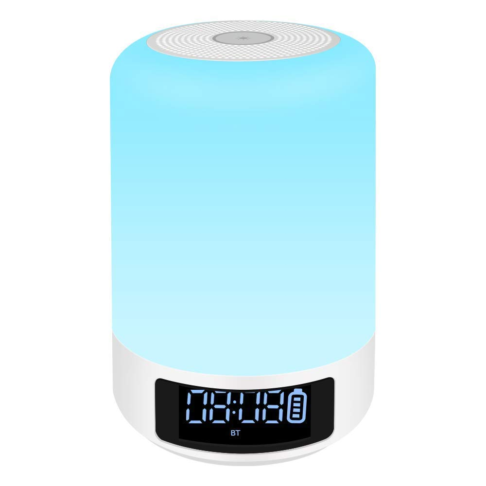 YSD Bedside Lamp with Bluetooth Speaker, Touch Sensor Table Lamp, Dimmable Warm White Light & Color Changing RGB, Alarm Clock & Hands Free Call Best Gifts for Women Men Teens Kids Children.