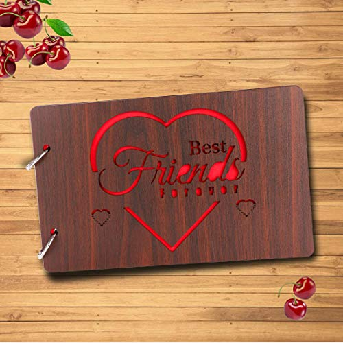 [해외]Sehaz Artworks Best_Friend Wooden Scrapbook Photo Album for Memorable Gift on Boyfriend Girlfriend Husband Wife Brother Sister Mother Father BFF Birthdays (22 cm x 16 cm x 4 cm Brown) / Sehaz Artworks Best_Friend Wooden Scrapbook P...
