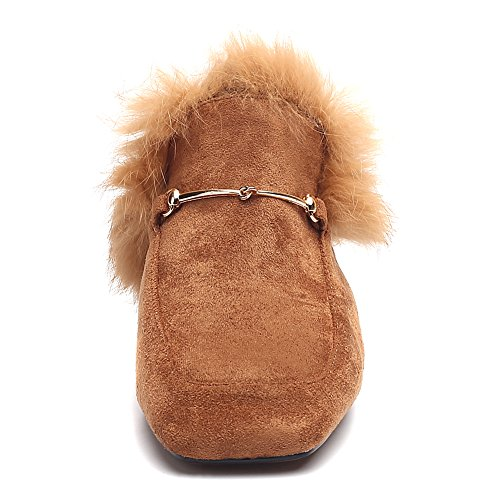 Fur Toe Autumn Square Boots Brown Winter Heel On Block Suede Women's Slip Slipper 1237 Chunky Leather O0w1qxHqB