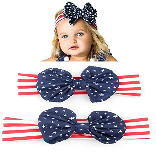 Halloween Costumes Using Bandanas (Parent Child Headband Turban Bow American Flag Pattern Hair Band Bandana Elastic Hairband)